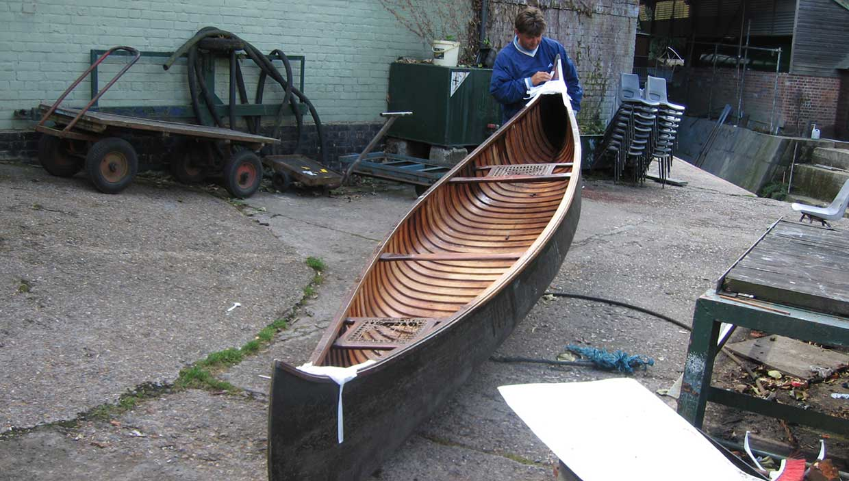 Old Town Canoe 'Doxford' prior to restoration